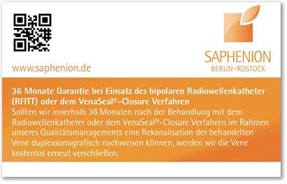SAPHENION Garantiekarte